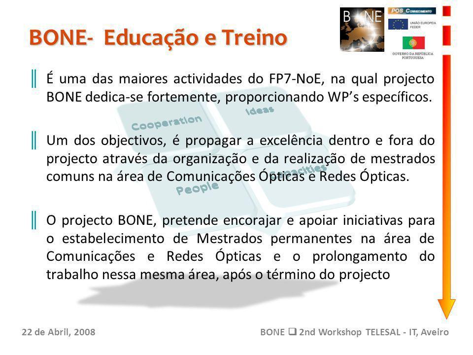 BONE- Educação e Treino 22 de Abril, 2008BONE 2nd Workshop TELESAL - IT, Aveiro É uma das maiores actividades do FP7-NoE, na qual projecto BONE dedica-se fortemente, proporcionando WPs específicos.