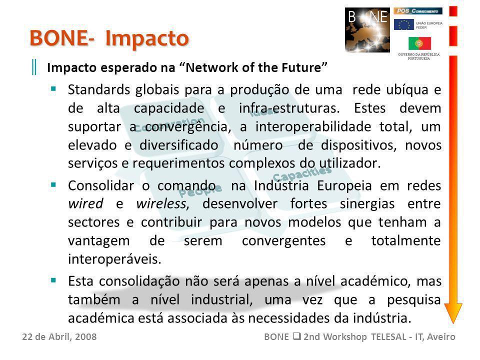 BONE- Impacto 22 de Abril, 2008BONE 2nd Workshop TELESAL - IT, Aveiro Impacto esperado na Network of the Future Standards globais para a produção de uma rede ubíqua e de alta capacidade e infra-estruturas.