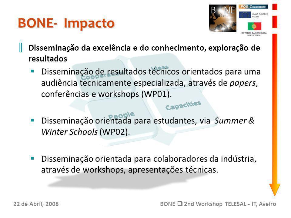 BONE- Impacto 22 de Abril, 2008BONE 2nd Workshop TELESAL - IT, Aveiro Disseminação da excelência e do conhecimento, exploração de resultados Disseminação de resultados técnicos orientados para uma audiência tecnicamente especializada, através de papers, conferências e workshops (WP01).