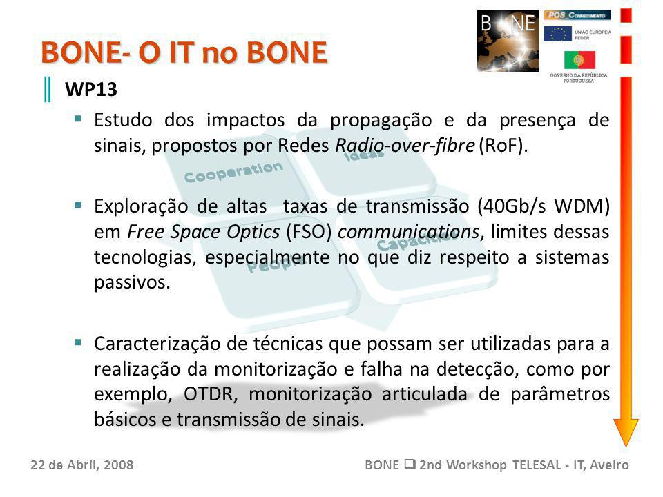 BONE- O IT no BONE 22 de Abril, 2008BONE 2nd Workshop TELESAL - IT, Aveiro WP13 Estudo dos impactos da propagação e da presença de sinais, propostos por Redes Radio-over-fibre (RoF).