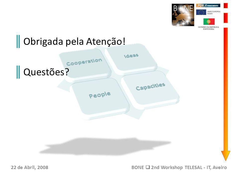 Obrigada pela Atenção! Questões? 22 de Abril, 2008BONE 2nd Workshop TELESAL - IT, Aveiro