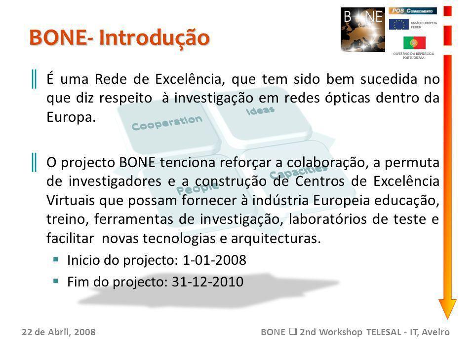 BONE- Introdução 22 de Abril, 2008BONE 2nd Workshop TELESAL - IT, Aveiro É uma Rede de Excelência, que tem sido bem sucedida no que diz respeito à investigação em redes ópticas dentro da Europa.