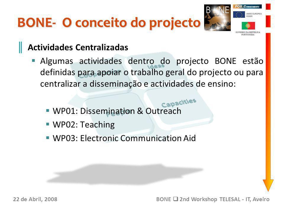 BONE- O conceito do projecto 22 de Abril, 2008BONE 2nd Workshop TELESAL - IT, Aveiro Actividades Centralizadas Algumas actividades dentro do projecto
