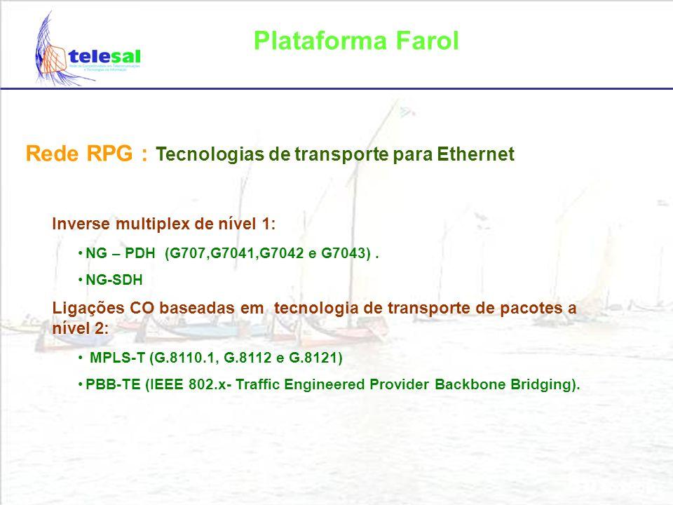 Plataforma Farol Arquitectura da RPG: Acesso Agregação Core xDSL HFC FTTx Wimax (Rede Metropolitana) IP/MPLS (NG-PDH) NG-SDH NG-PDH SDH NG-SDH Redes móveis MPLS-T PBB-TE (MPLS-T, PBB-TE) MPLS-T PBB-TE