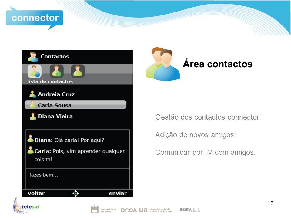 13 Área contactos Gestão dos contactos connector; Adição de novos amigos; Comunicar por IM com amigos.