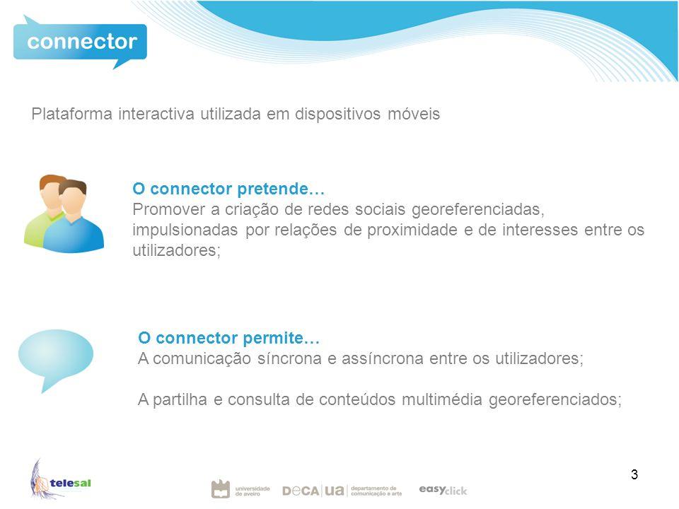 3 O connector pretende… Promover a criação de redes sociais georeferenciadas, impulsionadas por relações de proximidade e de interesses entre os utilizadores; O connector permite… A comunicação síncrona e assíncrona entre os utilizadores; A partilha e consulta de conteúdos multimédia georeferenciados; Plataforma interactiva utilizada em dispositivos móveis