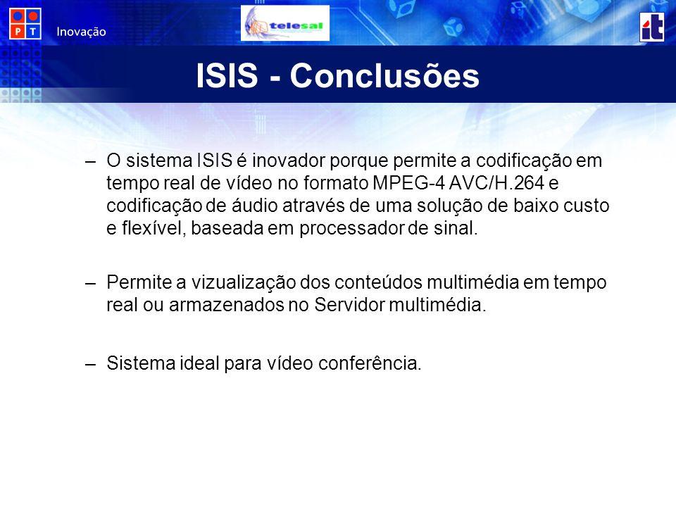 ISIS - Conclusões –O sistema ISIS é inovador porque permite a codificação em tempo real de vídeo no formato MPEG-4 AVC/H.264 e codificação de áudio através de uma solução de baixo custo e flexível, baseada em processador de sinal.