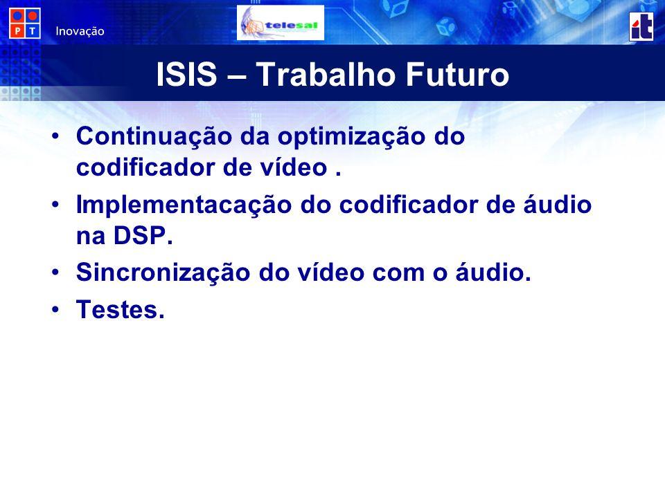 ISIS – Trabalho Futuro Continuação da optimização do codificador de vídeo.
