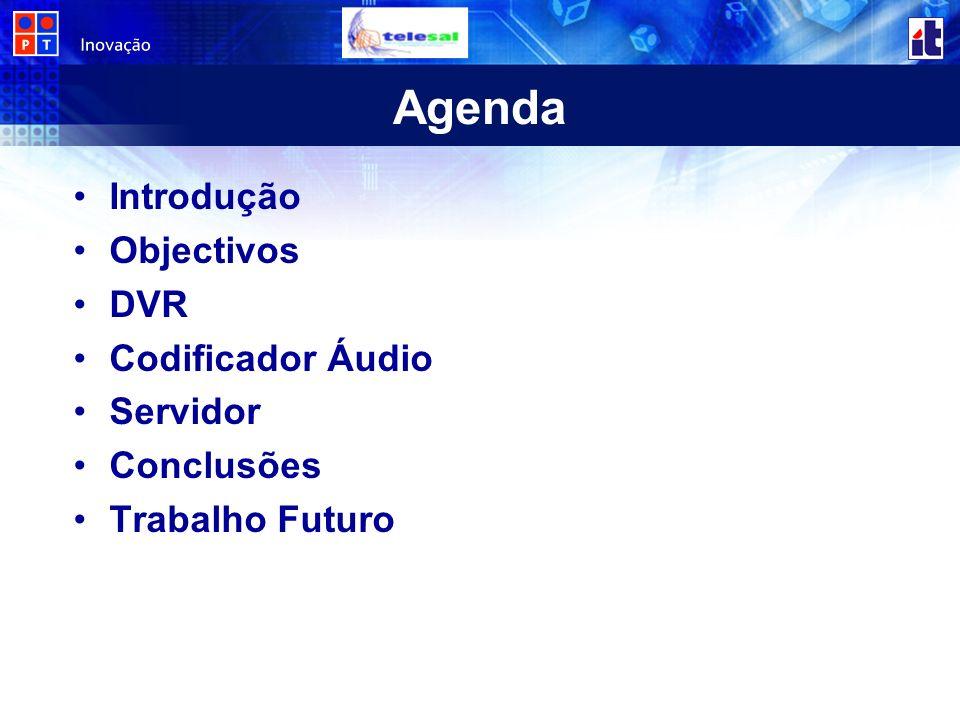 Agenda Introdução Objectivos DVR Codificador Áudio Servidor Conclusões Trabalho Futuro