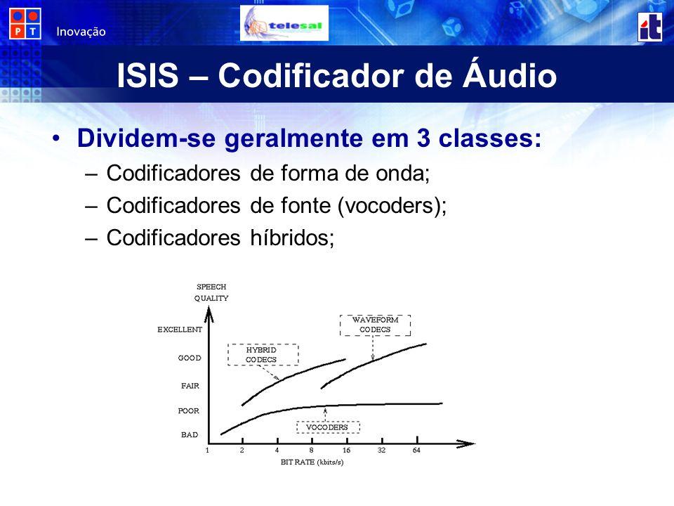 ISIS – Codificador de Áudio Dividem-se geralmente em 3 classes: –Codificadores de forma de onda; –Codificadores de fonte (vocoders); –Codificadores híbridos;