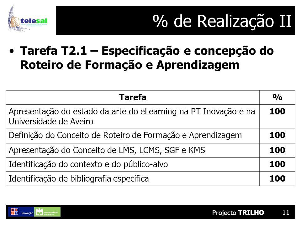 Projecto TRILHO11 % de Realização II Tarefa T2.1 – Especificação e concepção do Roteiro de Formação e Aprendizagem Tarefa% Apresentação do estado da arte do eLearning na PT Inovação e na Universidade de Aveiro 100 Definição do Conceito de Roteiro de Formação e Aprendizagem100 Apresentação do Conceito de LMS, LCMS, SGF e KMS100 Identificação do contexto e do público-alvo100 Identificação de bibliografia específica100