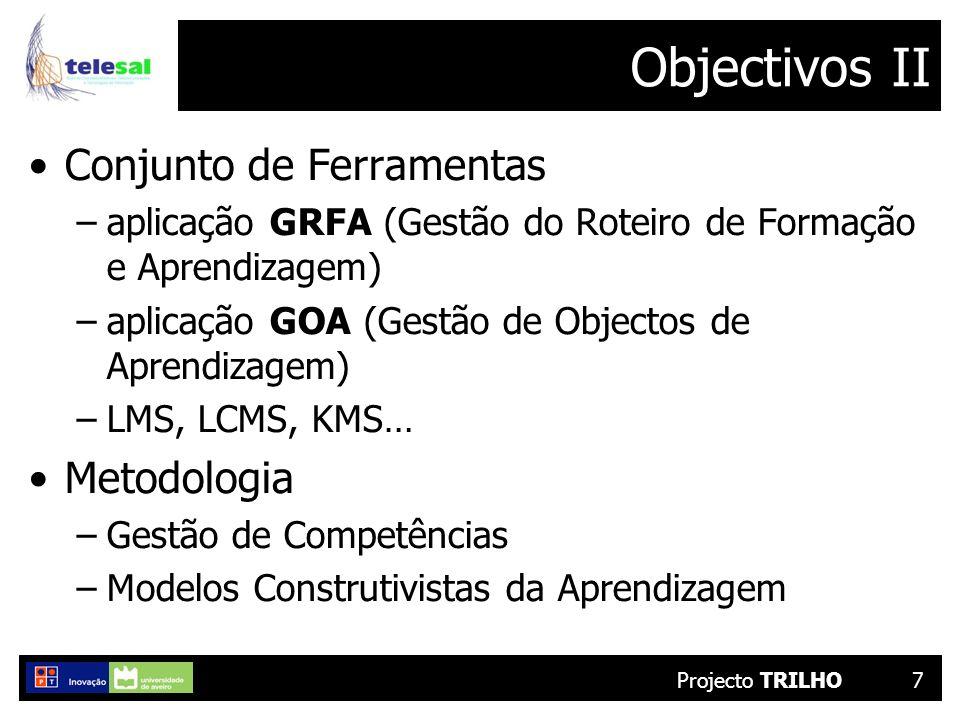 Projecto TRILHO7 Objectivos II Conjunto de Ferramentas –aplicação GRFA (Gestão do Roteiro de Formação e Aprendizagem) –aplicação GOA (Gestão de Objectos de Aprendizagem) –LMS, LCMS, KMS… Metodologia –Gestão de Competências –Modelos Construtivistas da Aprendizagem