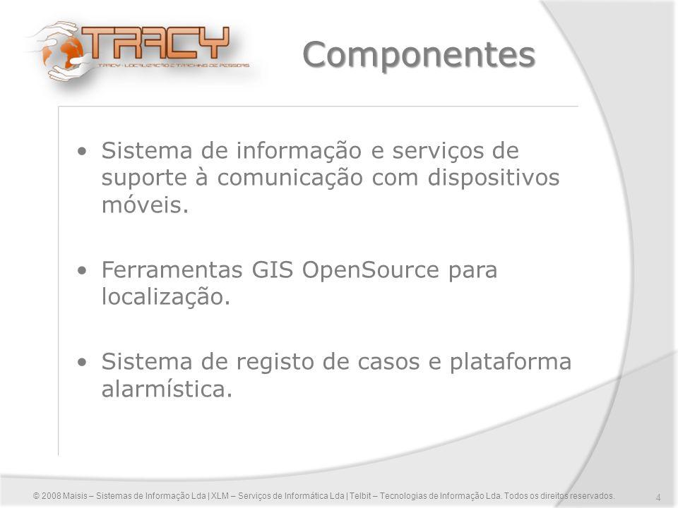 4 Componentes Sistema de informação e serviços de suporte à comunicação com dispositivos móveis. Ferramentas GIS OpenSource para localização. Sistema