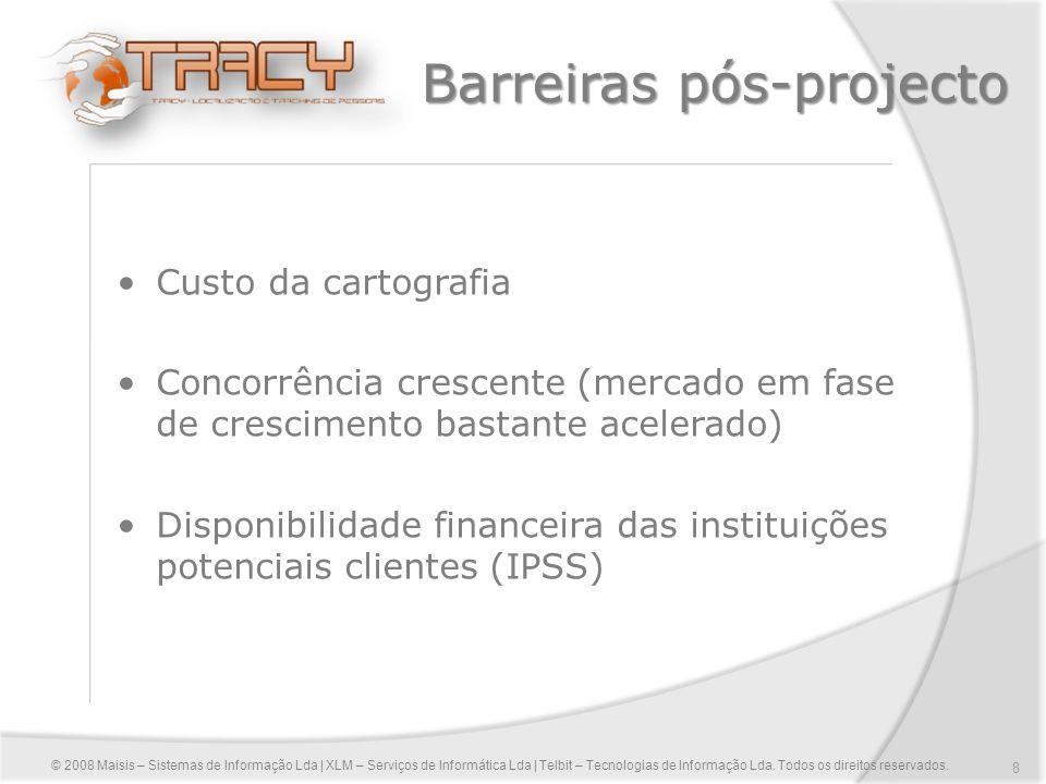 8 Barreiras pós-projecto Custo da cartografia Concorrência crescente (mercado em fase de crescimento bastante acelerado) Disponibilidade financeira da