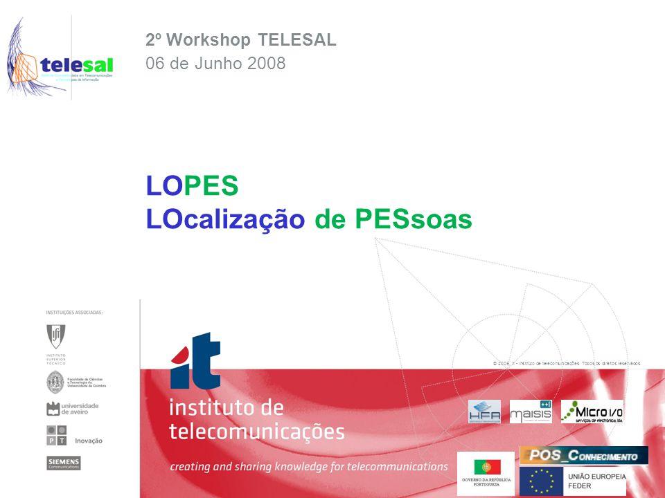 © 2005, it - instituto de telecomunicações. Todos os direitos reservados. 2º Workshop TELESAL 06 de Junho 2008 LOPES LOcalização de PESsoas