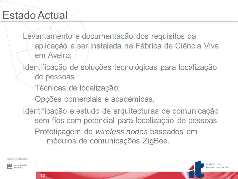 12 Levantamento e documentação dos requisitos da aplicação a ser instalada na Fábrica de Ciência Viva em Aveiro; Identificação de soluções tecnológicas para localização de pessoas Técnicas de localização; Opções comerciais e académicas.