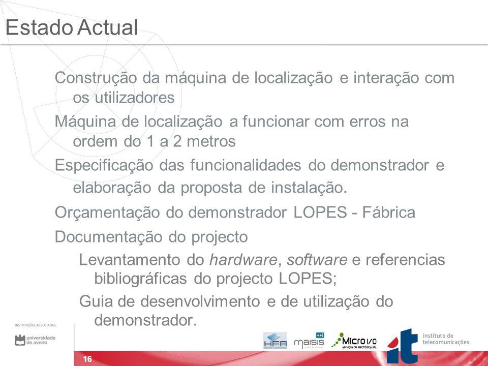 16 Construção da máquina de localização e interação com os utilizadores Máquina de localização a funcionar com erros na ordem do 1 a 2 metros Especificação das funcionalidades do demonstrador e elaboração da proposta de instalação.