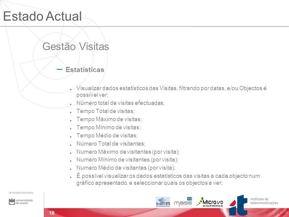 18 Gestão Visitas – Estatísticas. Visualizar dados estatísticos das Visitas, filtrando por datas, e/ou Objectos é possível ver;. Número total de visit