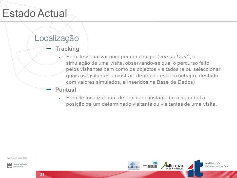 21 Localização – Tracking. Permite visualizar num pequeno mapa (versão Draft), a simulação de uma visita, observando-se qual o percurso feito pelos vi