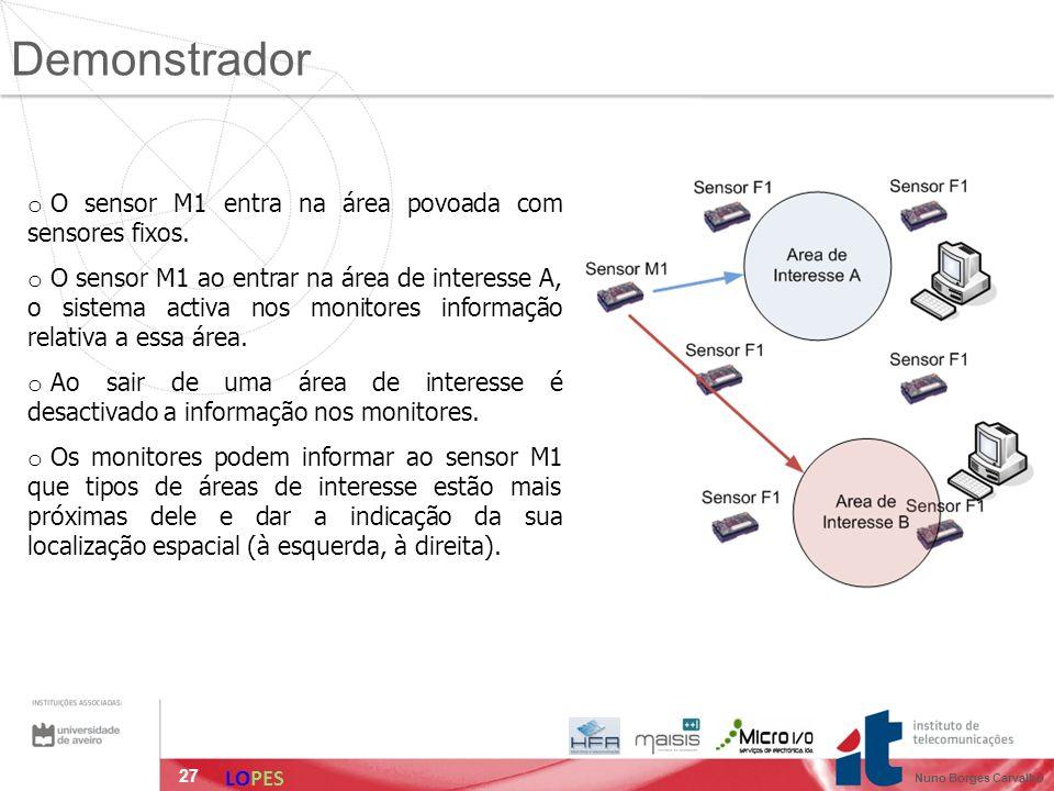 27 o O sensor M1 entra na área povoada com sensores fixos. o O sensor M1 ao entrar na área de interesse A, o sistema activa nos monitores informação r