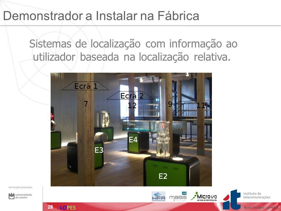 28 Sistemas de localização com informação ao utilizador baseada na localização relativa. Demonstrador a Instalar na Fábrica LOPES Nuno Borges Carvalho