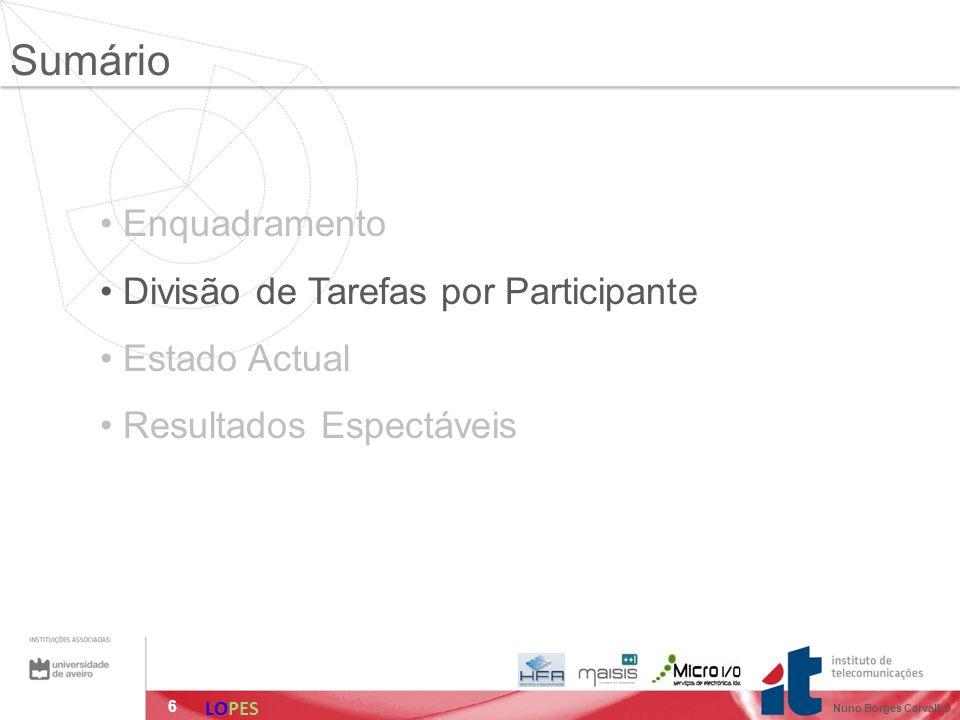 6 Enquadramento Divisão de Tarefas por Participante Estado Actual Resultados Espectáveis Sumário LOPES Nuno Borges Carvalho