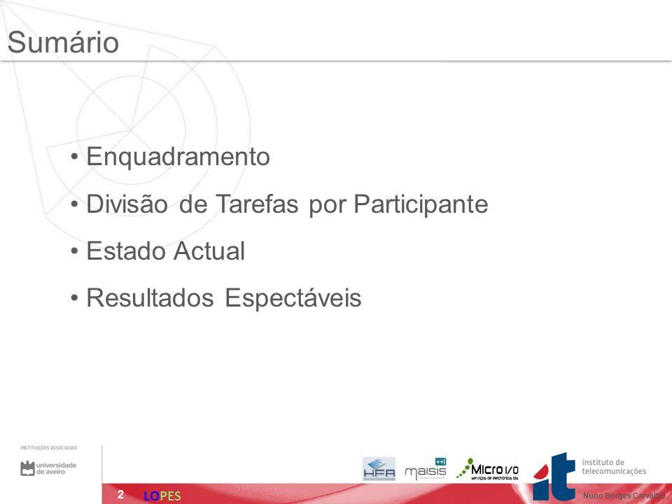 2 Enquadramento Divisão de Tarefas por Participante Estado Actual Resultados Espectáveis Sumário LOPES Nuno Borges Carvalho