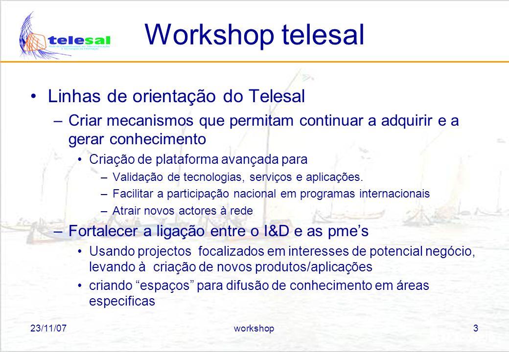 23/11/07workshop4 Workshop telesal Planos futuros –Realizar um segundo encontro em Janeiro, focalizado nos projectos comunitários nos quais participam os parceiros do telesal Como nos podemos posicionar em termos de actividade futura Identificar possíveis áreas de cooperação internacional –Realizar um terceiro encontro em Maio focalizado nos projectos Telesal (avaliação da actividade)
