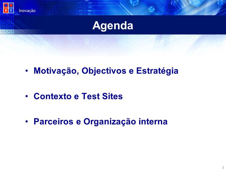 Agenda Motivação, Objectivos e Estratégia Contexto e Test Sites Parceiros e Organização interna 2