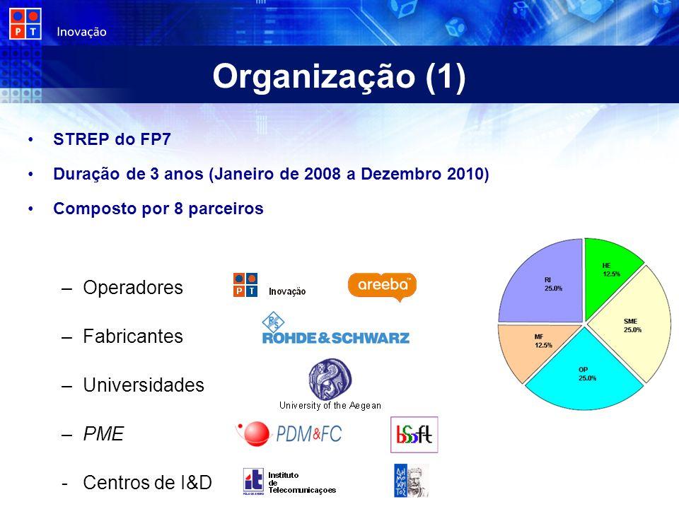 Organização (1) STREP do FP7 Duração de 3 anos (Janeiro de 2008 a Dezembro 2010) Composto por 8 parceiros –Operadores –Fabricantes –Universidades –PME -Centros de I&D