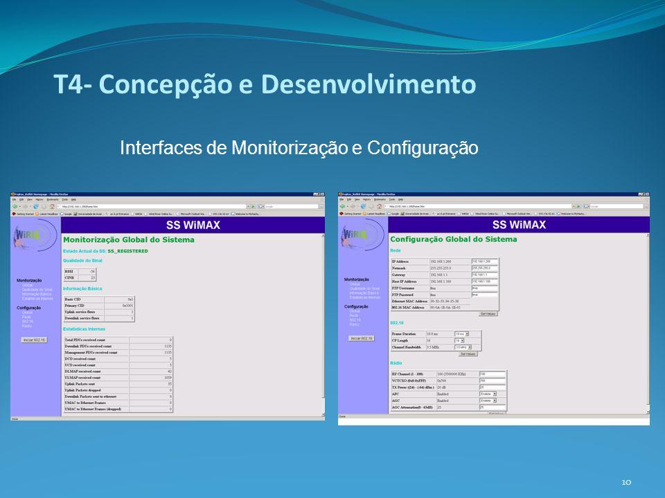 T4- Concepção e Desenvolvimento Interfaces de Monitorização e Configuração 10