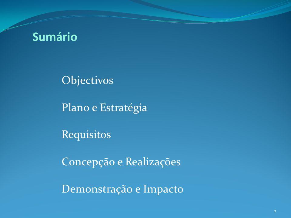 Sumário Objectivos Plano e Estratégia Requisitos Concepção e Realizações Demonstração e Impacto 2