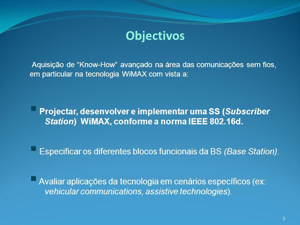 Objectivos Aquisição de Know-How avançado na área das comunicações sem fios, em particular na tecnologia WiMAX com vista a: Projectar, desenvolver e i