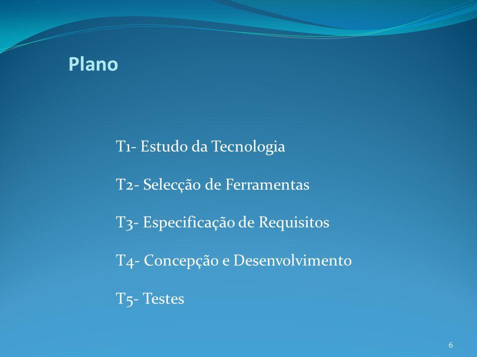 Plano T1- Estudo da Tecnologia T2- Selecção de Ferramentas T3- Especificação de Requisitos T4- Concepção e Desenvolvimento T5- Testes 6