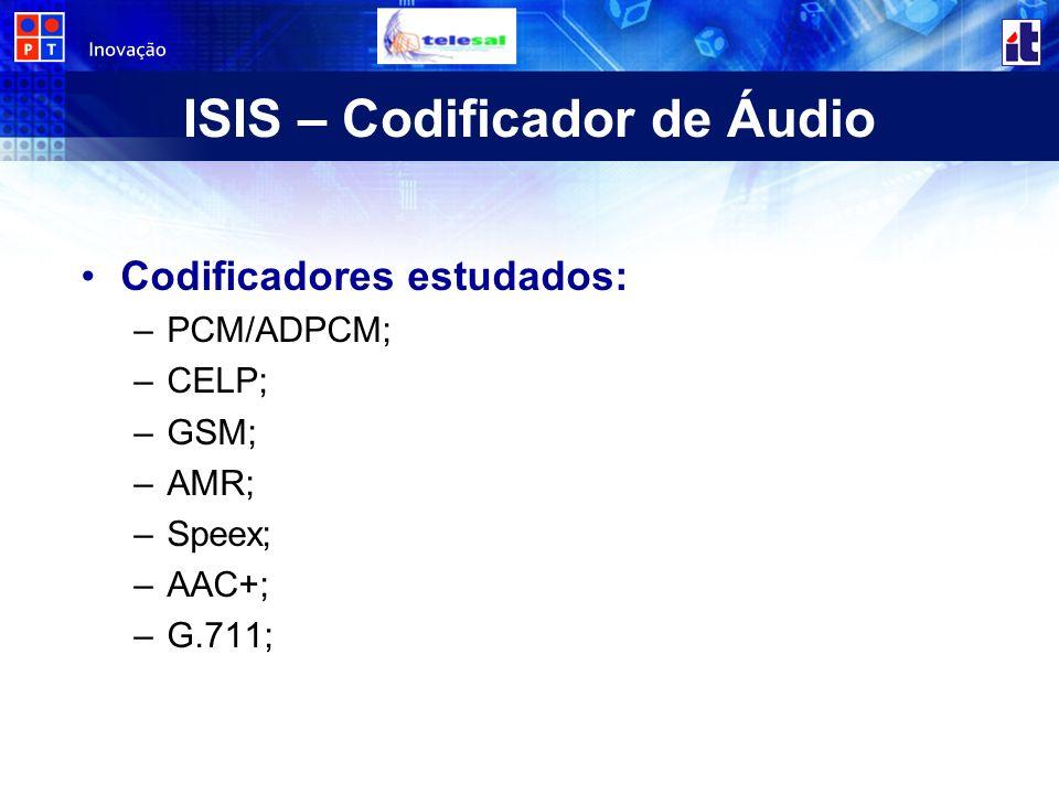 ISIS – Codificador de Áudio Codificadores estudados: –PCM/ADPCM; –CELP; –GSM; –AMR; –Speex; –AAC+; –G.711;