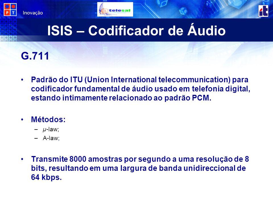 ISIS – Codificador de Áudio G.711 Padrão do ITU (Union International telecommunication) para codificador fundamental de áudio usado em telefonia digit