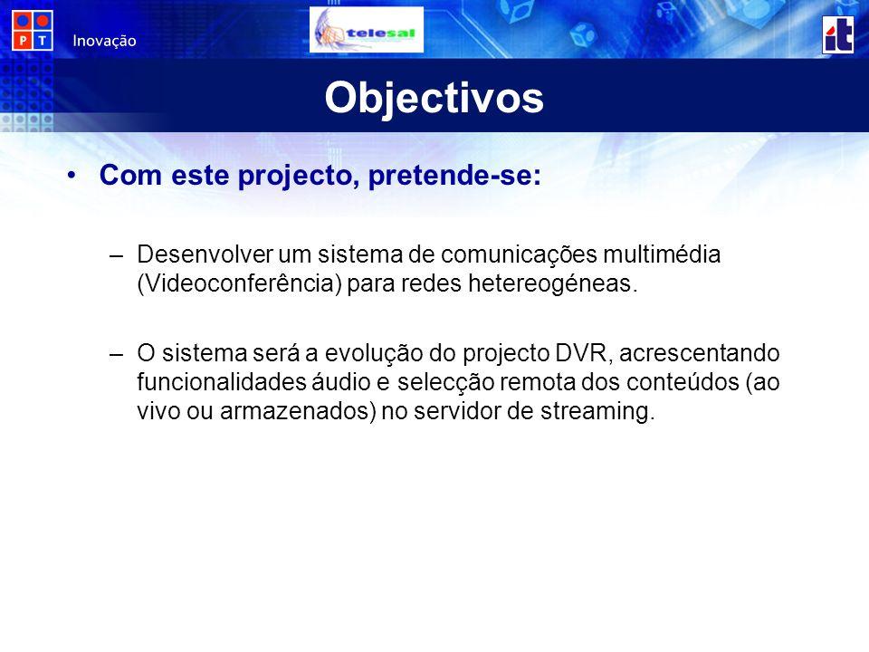 DVR – Digital Video Recorder O principal objectivo do projecto DVR (Digital Video Recorder) foi estudar, investigar, desenvolver e validar um sistema de aquisição, codificação, transporte, armazenamento, transcodificação e servidor de vídeo que permita desenvolver serviços e aplicações de vídeo a pedido.