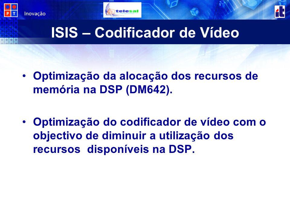 ISIS – Codificador de Vídeo Optimização da alocação dos recursos de memória na DSP (DM642). Optimização do codificador de vídeo com o objectivo de dim