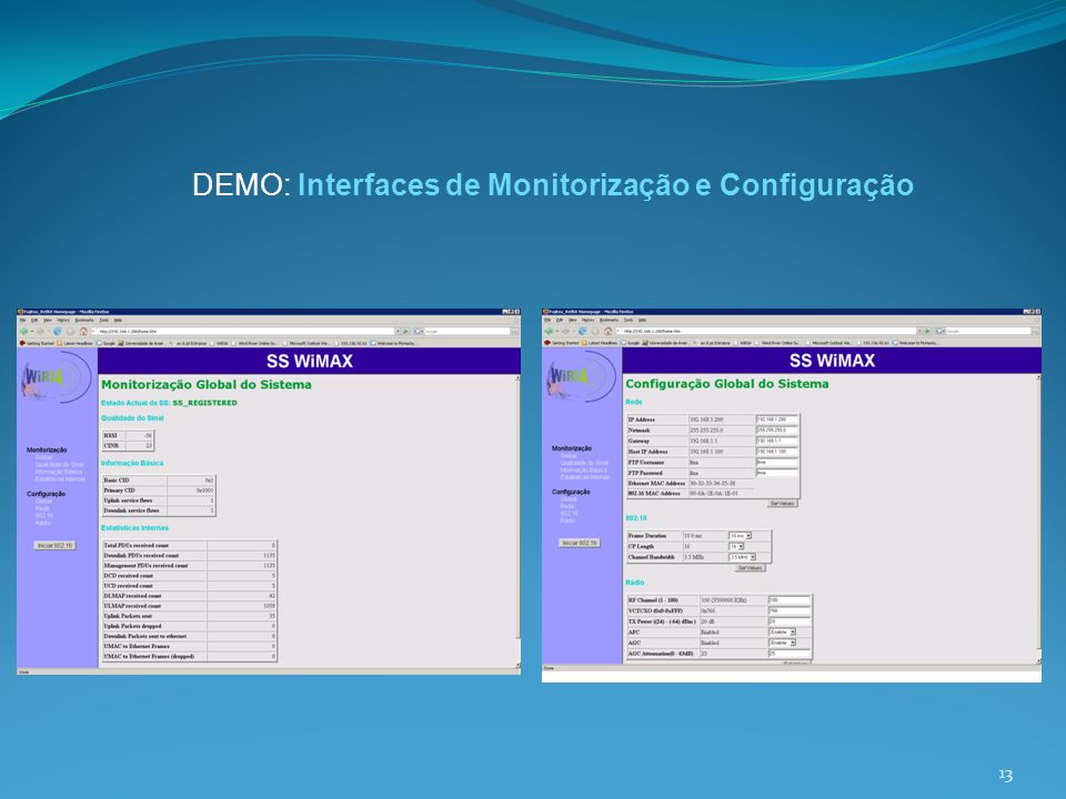 DEMO: Interfaces de Monitorização e Configuração 13