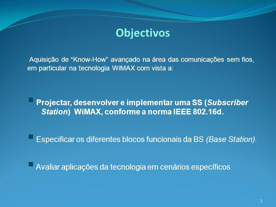 Objectivos Aquisição de Know-How avançado na área das comunicações sem fios, em particular na tecnologia WiMAX com vista a: Projectar, desenvolver e implementar uma SS (Subscriber Station) WiMAX, conforme a norma IEEE 802.16d.