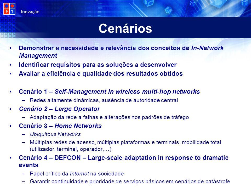 Demonstrar a necessidade e relevância dos conceitos de In-Network Management Identificar requisitos para as soluções a desenvolver Avaliar a eficiênci