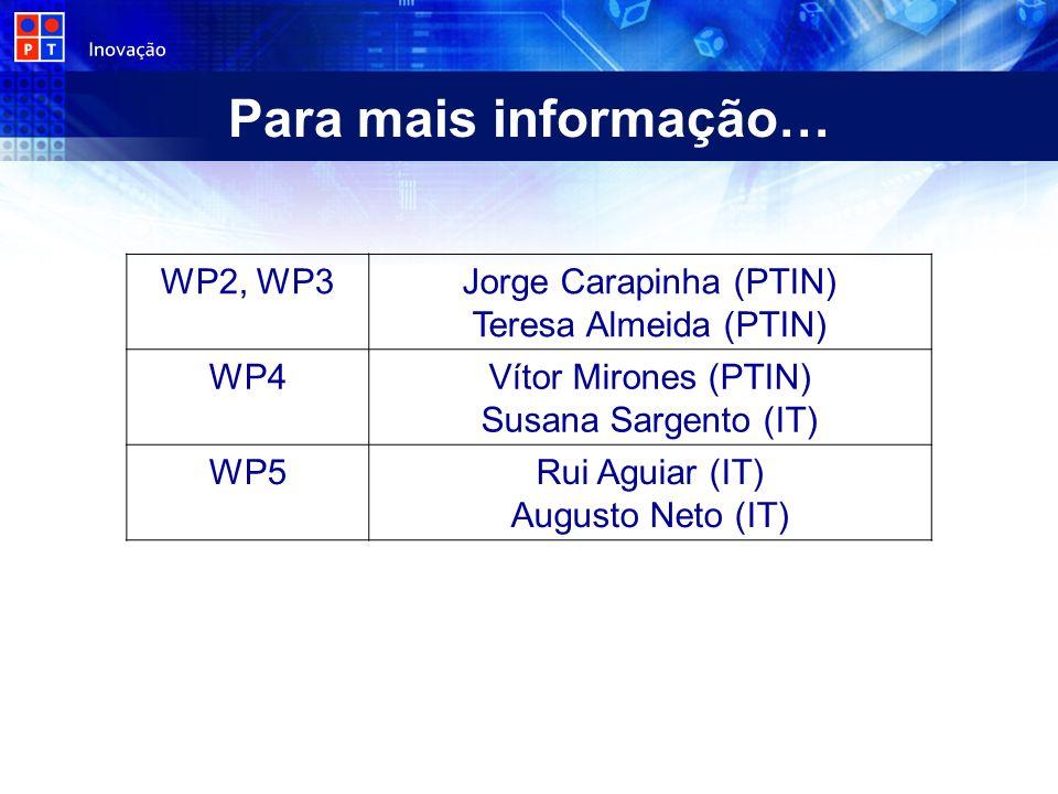 Para mais informação… WP2, WP3Jorge Carapinha (PTIN) Teresa Almeida (PTIN) WP4Vítor Mirones (PTIN) Susana Sargento (IT) WP5Rui Aguiar (IT) Augusto Neto (IT)
