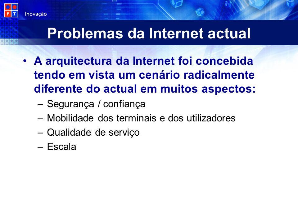 Problemas da Internet actual A arquitectura da Internet foi concebida tendo em vista um cenário radicalmente diferente do actual em muitos aspectos: –Segurança / confiança –Mobilidade dos terminais e dos utilizadores –Qualidade de serviço –Escala