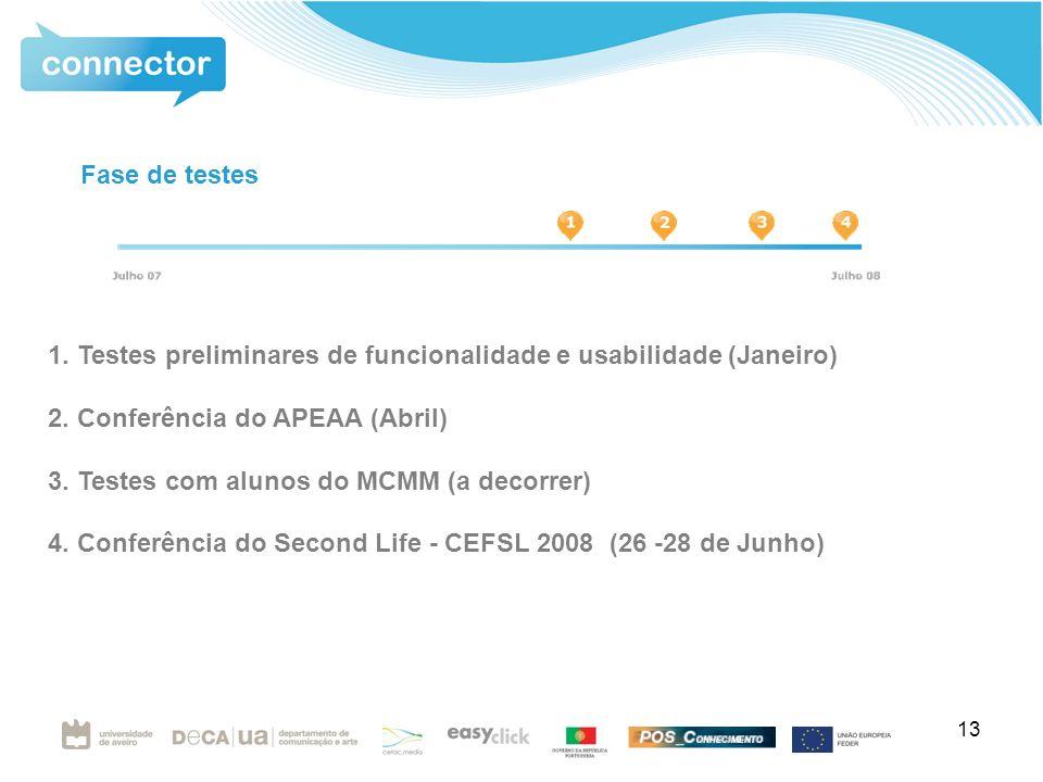 13 1. Testes preliminares de funcionalidade e usabilidade (Janeiro) 2.