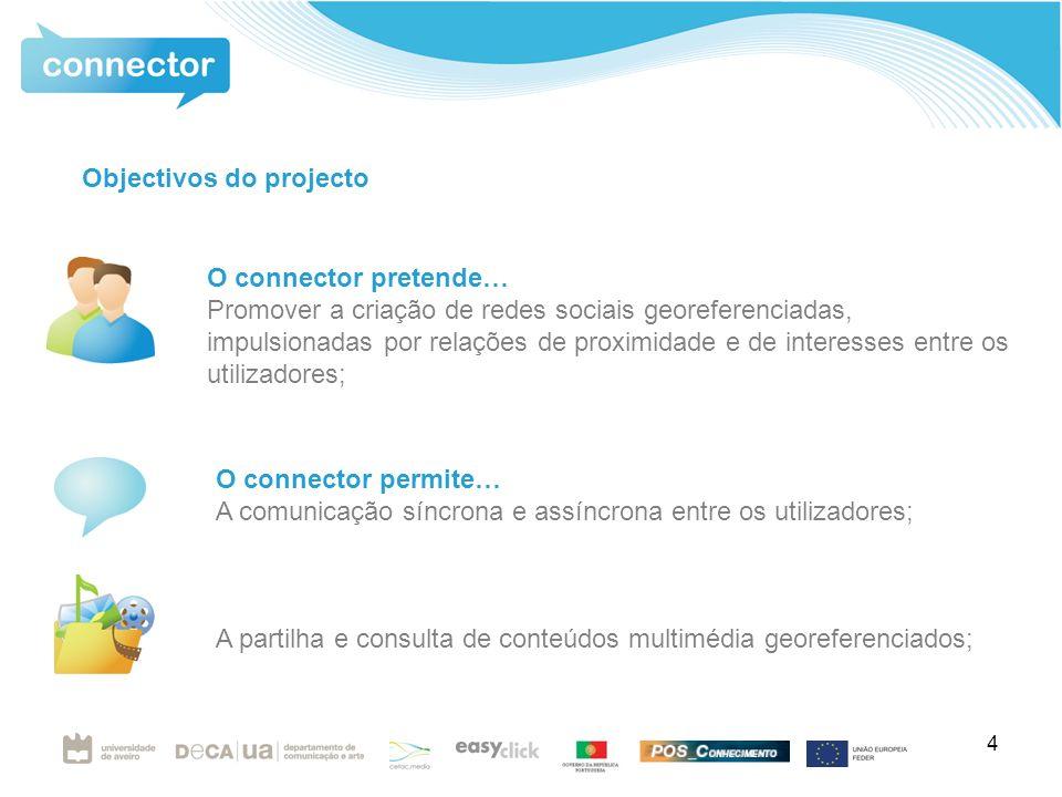 4 O connector pretende… Promover a criação de redes sociais georeferenciadas, impulsionadas por relações de proximidade e de interesses entre os utilizadores; O connector permite… A comunicação síncrona e assíncrona entre os utilizadores; A partilha e consulta de conteúdos multimédia georeferenciados; Objectivos do projecto