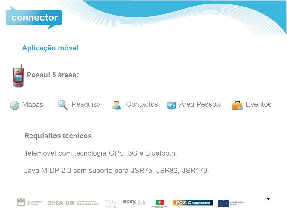 7 Requisitos técnicos Telemóvel com tecnologia GPS, 3G e Bluetooth.