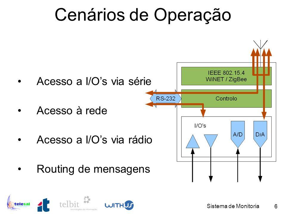 Sistema de Monitoria 7 Aplicação PC: Objectivos 1.Adaptar uma aplicação para medição do nível utilizando ligações cabladas.