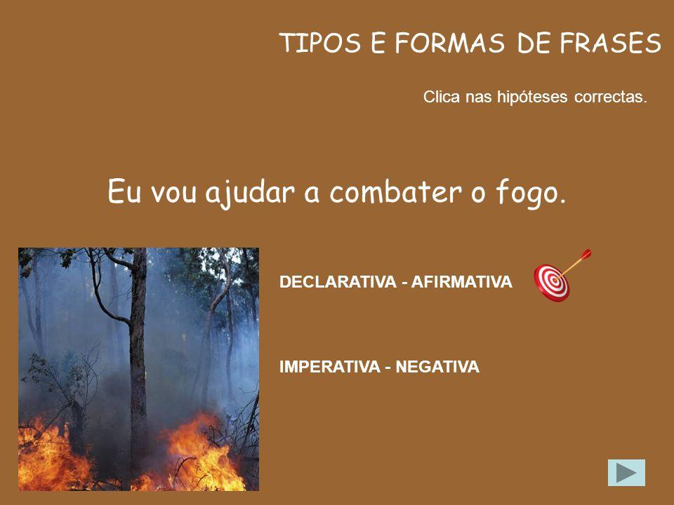 FORMAS DE FRASES Clica na forma de frase correcta. Eu vou ajudar a combater o fogo. AFIRMATIVA NEGATIVA