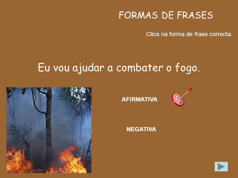 FORMAS DE FRASES Clica no tipo de frase correcto. Não sei como começou o fogo. AFIRMATIVA NEGATIVA