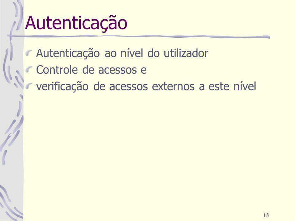 18 Autenticação Autenticação ao nível do utilizador Controle de acessos e verificação de acessos externos a este nível